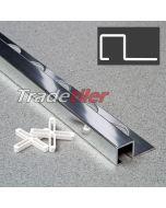 12.5mm Square (Box) Aluminium Tile Trim - Chrome