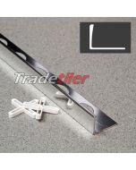 15mm Straight Edge Aluminium Tile Trim - Chrome