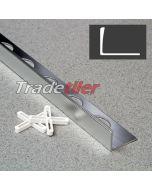 15mm Straight Edge Aluminium Tile Trim - Satin Chrome