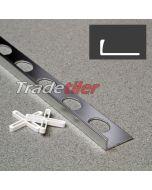 8mm Straight Edge Aluminium Tile Trim - Satin Chrome