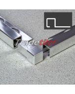 9.5mm Square (Box) Aluminium Tile Trim Corner x 1 - Chrome