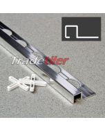 9.5mm Square (Box) Aluminium Tile Trim - Chrome
