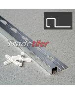 9.5mm Square (Box) Aluminium Tile Trim - Satin Chrome