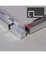 9.5mm Square (Box) Aluminium Tile Trim Corner x 1 - Satin Chrome