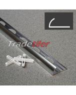 9mm Round Edge Aluminium Tile Trim - Satin Chrome
