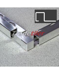 12.5mm Square (Box) Aluminium Tile Trim Corner x 1 - Chrome
