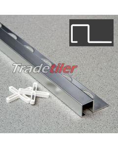 12.5mm Square (Box) Aluminium Tile Trim - Satin Chrome
