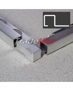 12.5mm Square (Box) Aluminium Tile Trim Corner x 1 - Satin Chrome