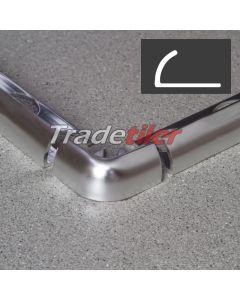 12mm Round Edge Aluminium Tile Trim Corner x 1 - Satin Chrome