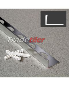 12mm Straight Edge Aluminium Tile Trim - Satin Chrome