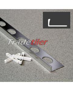 6mm Straight Edge Aluminium Tile Trim - Satin Chrome