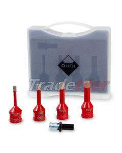 Rubi Mini Dry Gres Diamond Tile Drilling Kit / Set  (4 x Drills and Adapter)