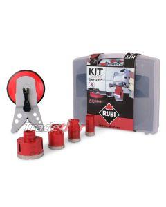 Rubi Dry Gres Diamond Tile Drilling Kit / Set  (4 x Drills and Guide)