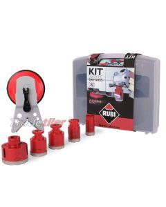 Rubi Dry Gres Diamond Tile Drilling Kit / Set  (5 x Drills and Guide)