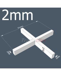 Rubi 2mm Long Leg Cross Tile Spacers - bag 1000