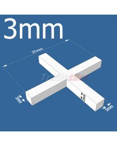 3mm Long leg Cross Tile Spacers - bag 1000