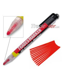 Trades Marker Pencil - Red (Including 12 Refills)